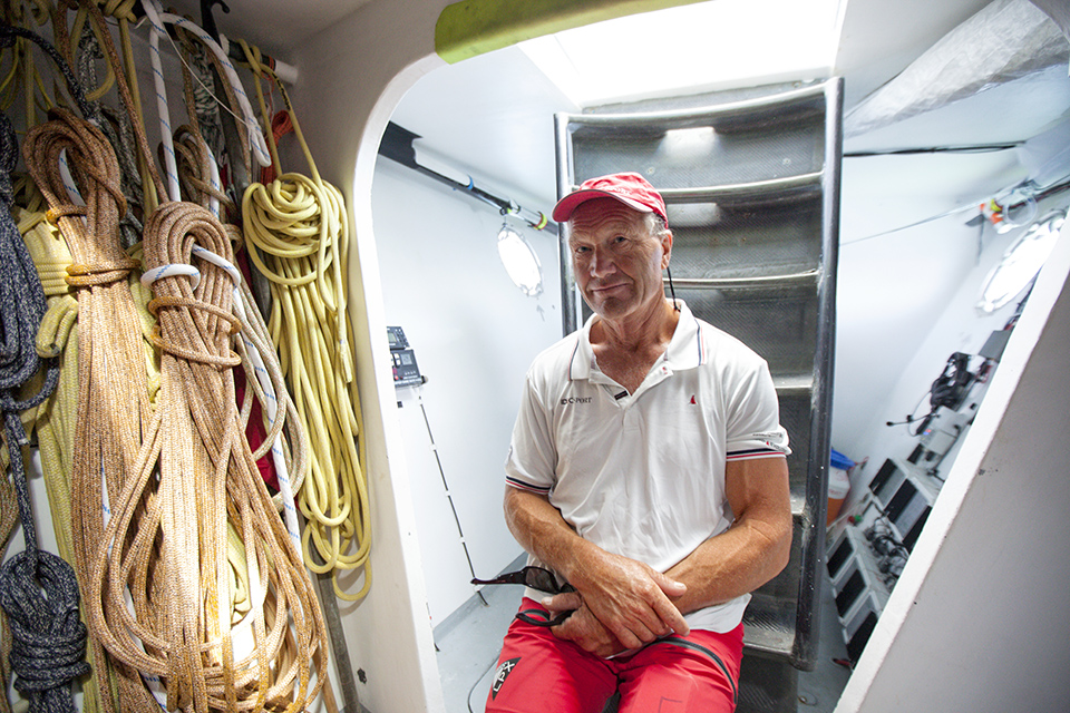 "Onboard the trimaran IDEC SPORT skippered by Francis Joyon, preparing to take part in ""La Route du Rhum"", La Trinité-sur-Mer, Brittany, France."
