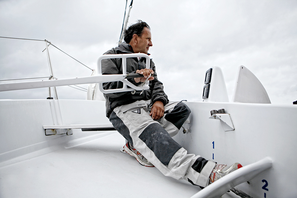 With Alain Gautier on board the Orma 60 Sensation Ocean, Lorient, Brittany, France.